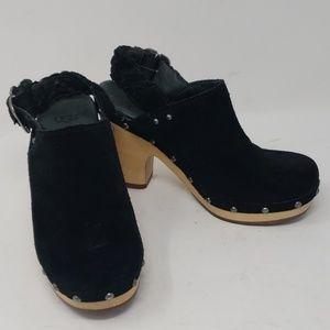 Ugg Dafni  Black Suede Slingback Boho Clog Size 6